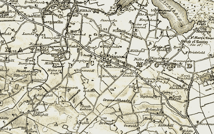 Old map of Tillyfauld in 1909-1910