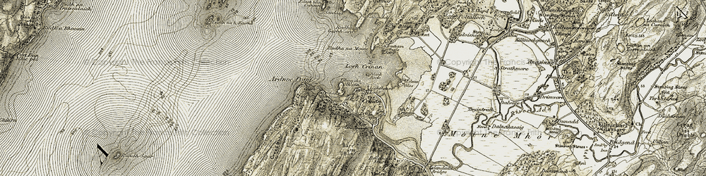 Old map of Ardnoe Point in 1906-1907