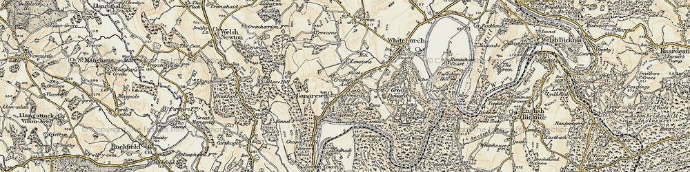 Old map of Wyastone Leys in 1899-1900