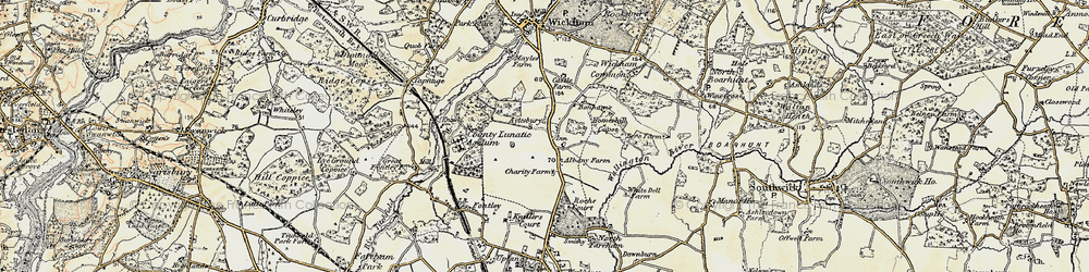 Old map of Wickham Common in 1897-1899