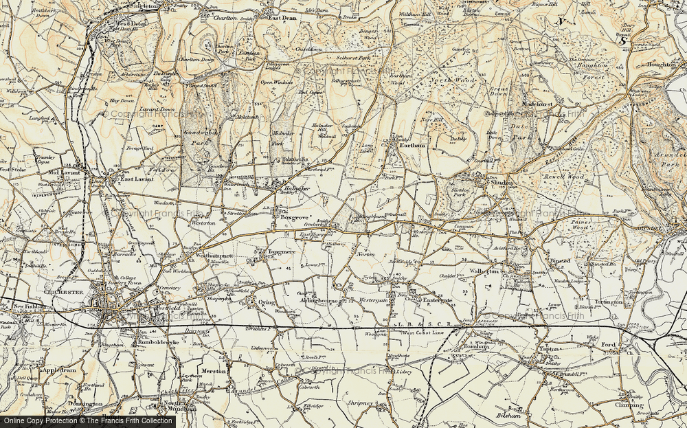 Old Map of Historic Map covering Aldingbourne Ho in 1897-1899