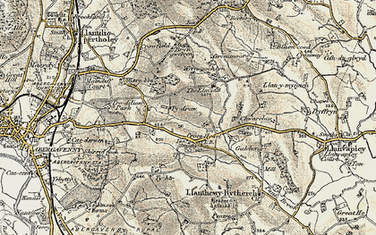 Old map of Ysgyrd Fach in 1899-1900