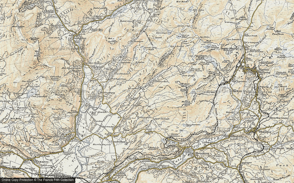 Old Map of Historic Map covering Afon Croesor in 1903