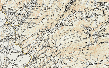 Old map of Afon Maesgwm in 1903