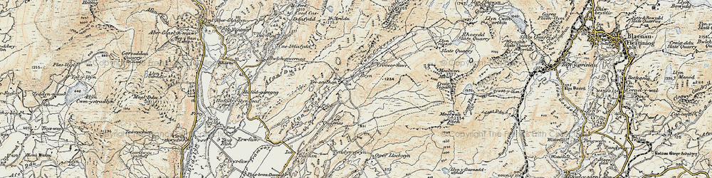 Old map of Afon Dylif in 1903
