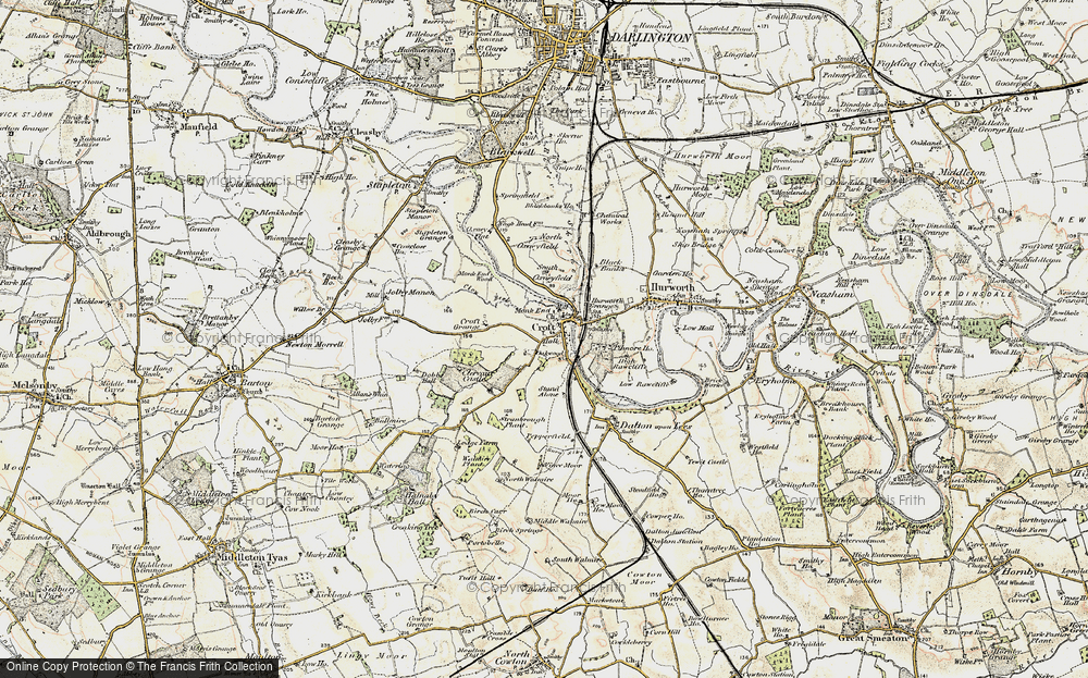 Old Map of Croft-on-Tees, 1903-1904 in 1903-1904