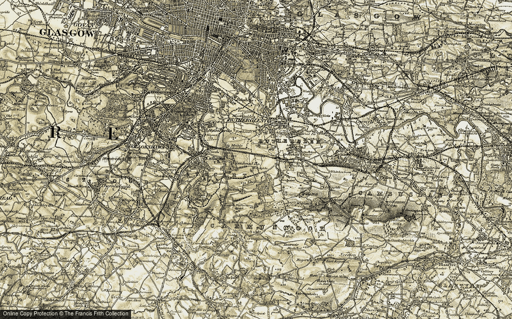 Old Map of Historic Map covering Bankhead in 1904-1905