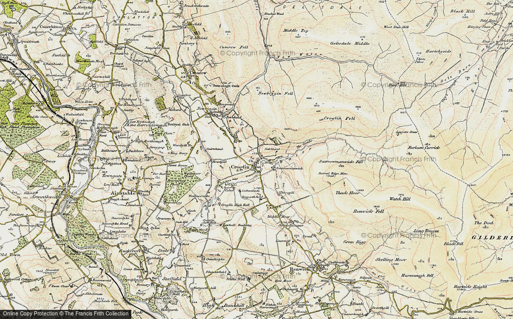 Old Map of Historic Map covering Woodgill Ho in 1901-1904