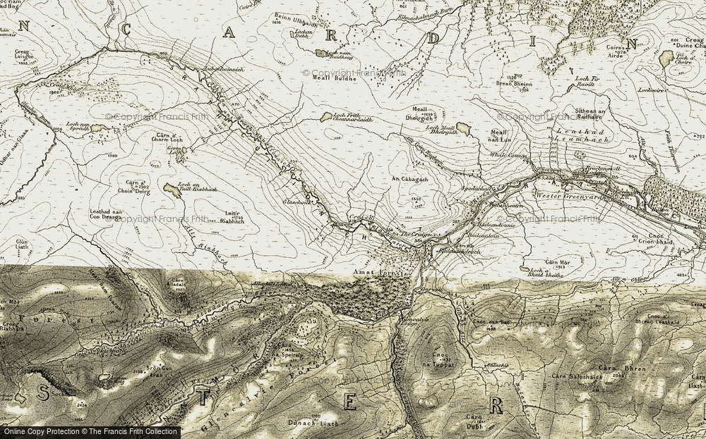 Old Map of Historic Map covering Amat Forest in 1908-1912