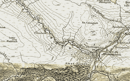 Old map of Leitir Riabhach in 1908-1912