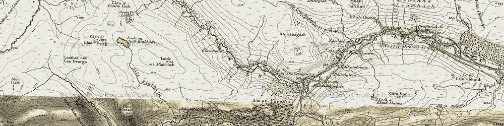 Old map of Alladale Lodge in 1908-1912
