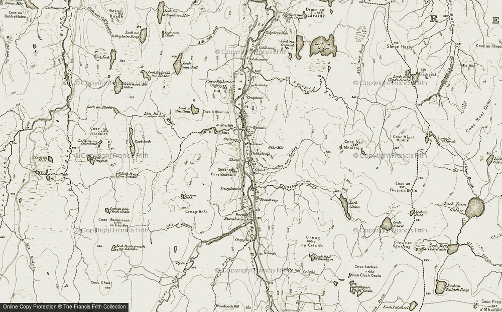 Old Map of Historic Map covering Allt nan Sgalag in 1911-1912