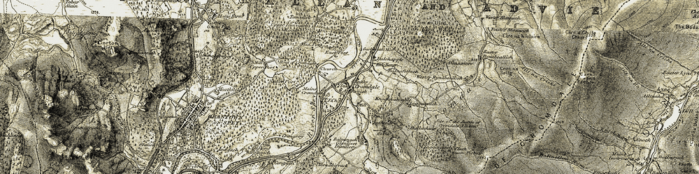 Old map of Tom an Uird in 1908-1911