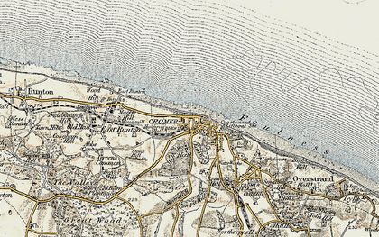 Old map of Cromer in 1901-1902