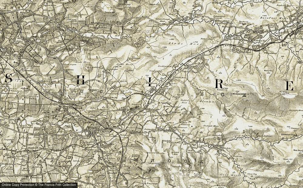 Old Map of Historic Map covering Airds Moss in 1904-1905