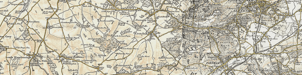 Old map of Crondall in 1898-1909