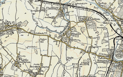 Old map of Cropthorne in 1899-1901
