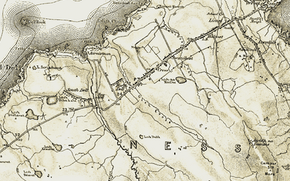 Old map of Abhainn Chrois in 1911