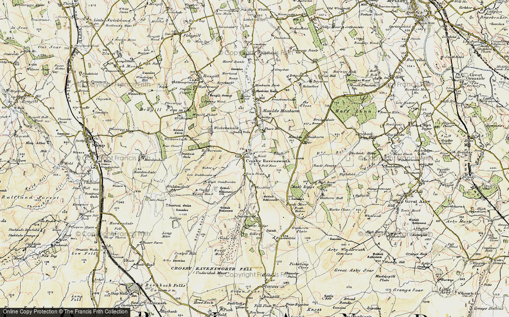 Old Map of Historic Map covering Bank Moor in 1901-1904