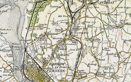Old map of Furness Abbey in 1903-1904