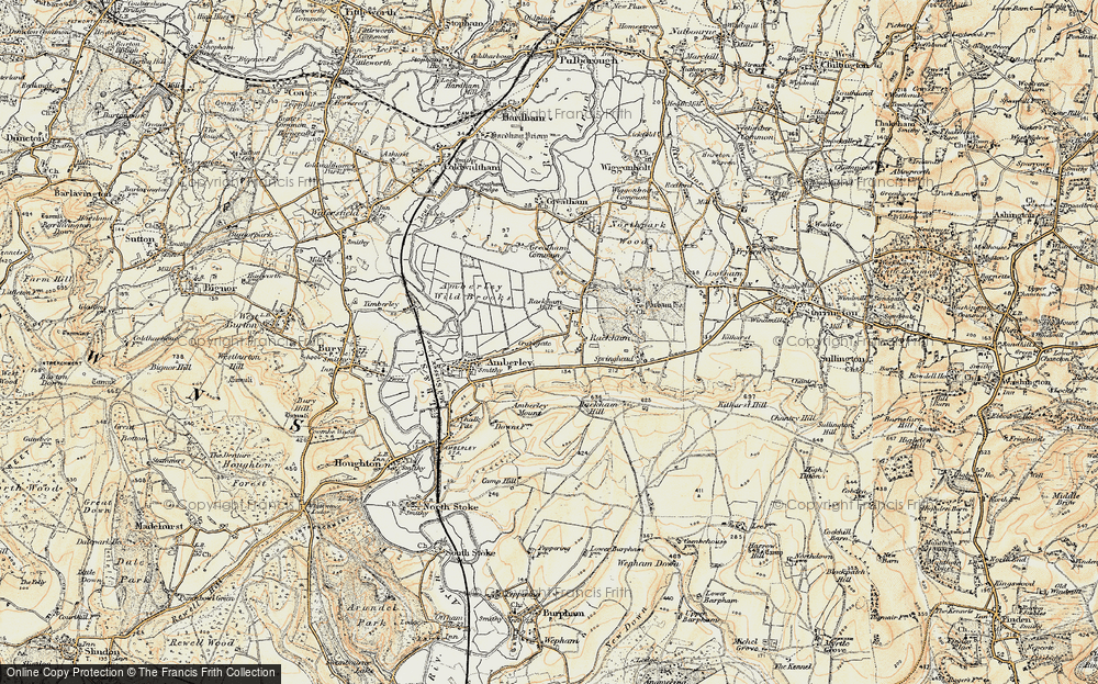 Old Map of Historic Map covering Amberley Mount in 1897-1899