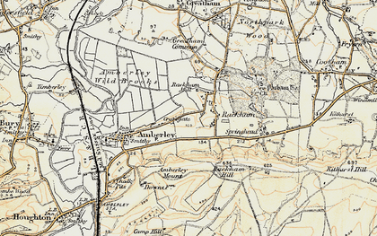 Old map of Amberley Mount (Tumuli) in 1897-1899