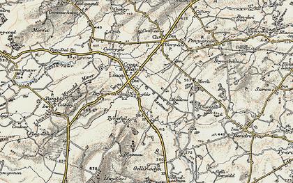 Old map of Cross Hands in 1900-1901