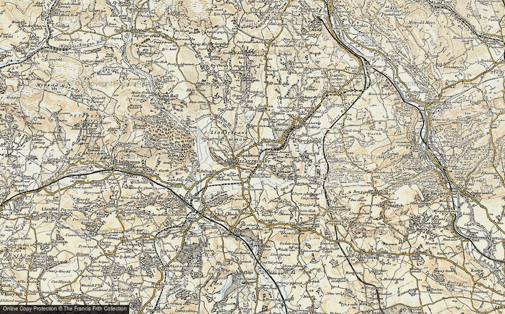 Old Map of Historic Map covering Afon Clun in 1899-1900