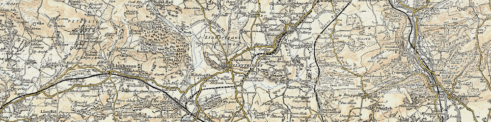 Old map of Afon Clun in 1899-1900