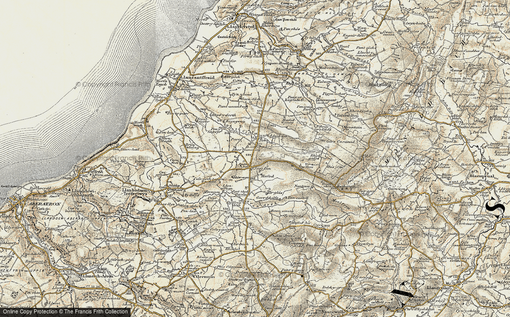 Old Map of Historic Map covering Afon Brân in 1901-1903
