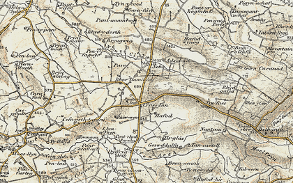 Old map of Afon Brân in 1901-1903