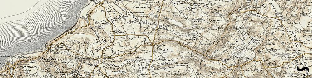 Old map of Afon Brân in 1901-1903