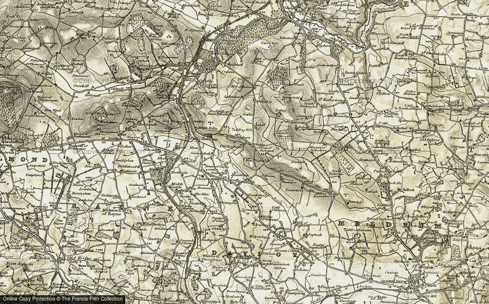 Old Map of Historic Map covering Lethen in 1909-1910