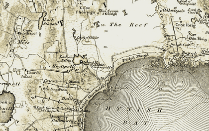 Old map of Tiree in 1906-1907