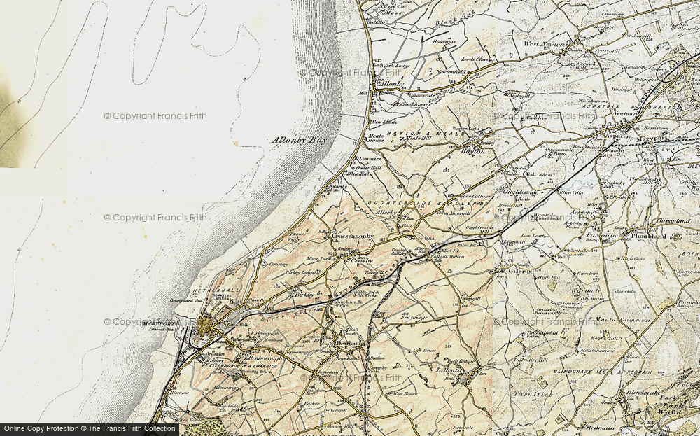 Old Map of Historic Map covering Allonby Bay in 1901-1905