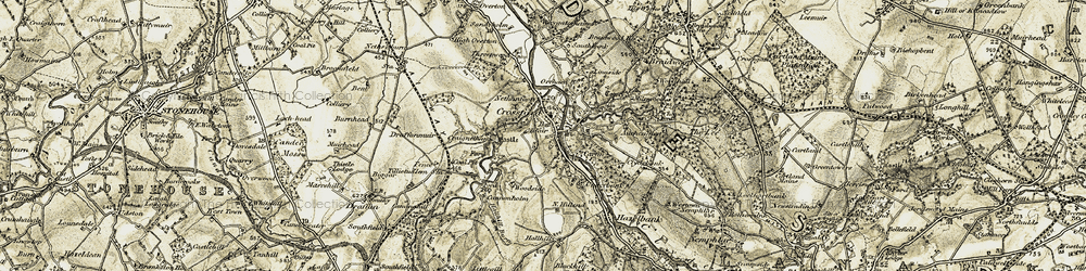 Old map of Crossford in 1904-1905