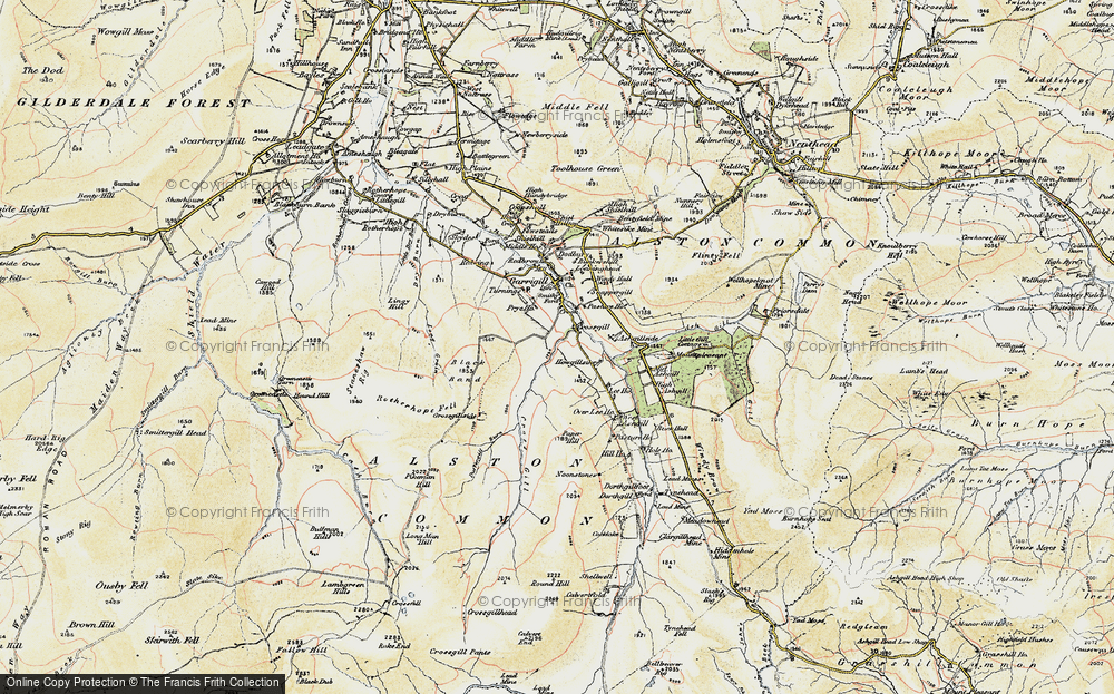 Old Map of Historic Map covering Ash Gill in 1901-1904