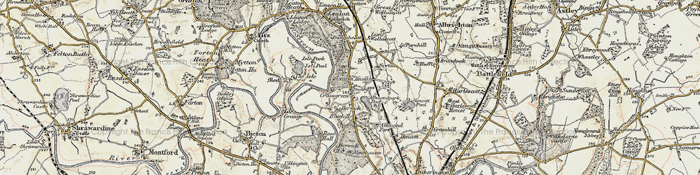 Old map of Alkmund Park Pool in 1902