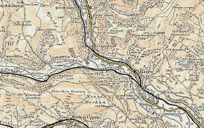 Old map of Crosskeys in 1899-1900