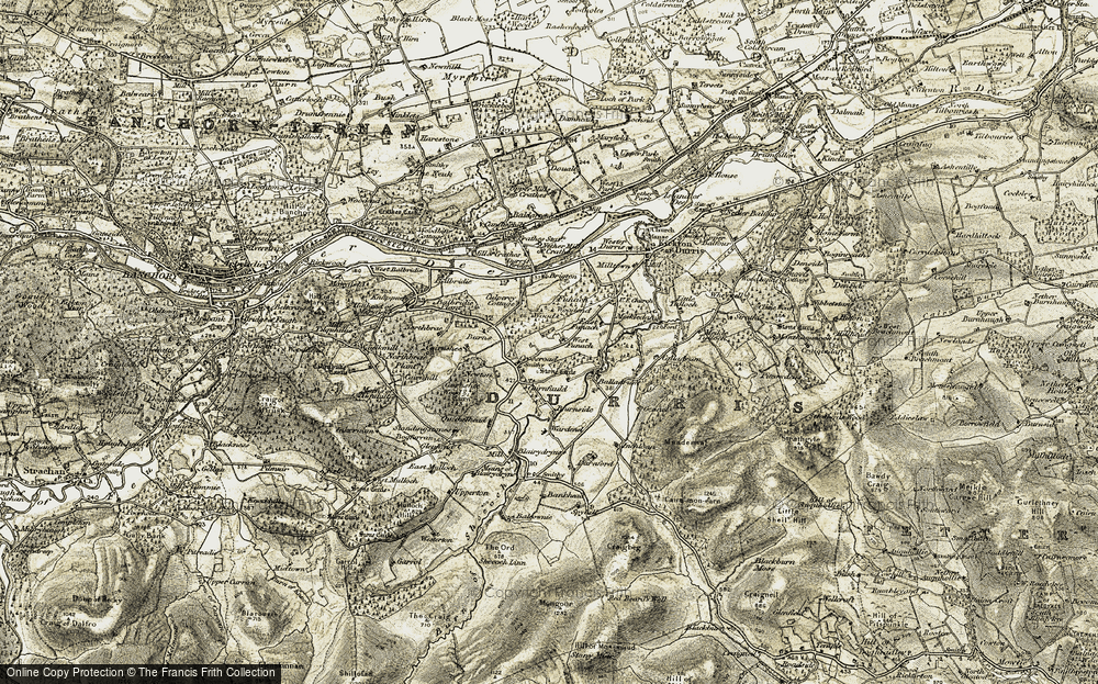 Old Map of Historic Map covering Bankhead in 1908-1909
