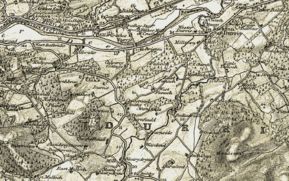 Old map of Balladrum in 1908-1909