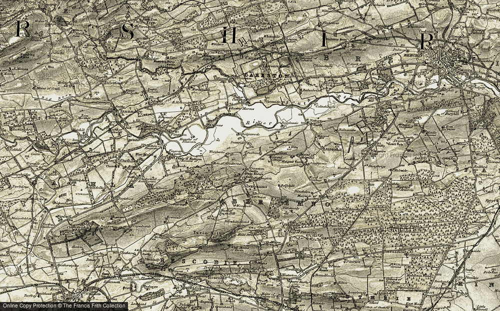 Old Map of Historic Map covering Balbinny in 1907-1908
