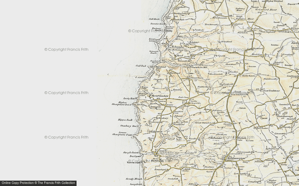 Old Map of Historic Map covering Tonacombe in 1900