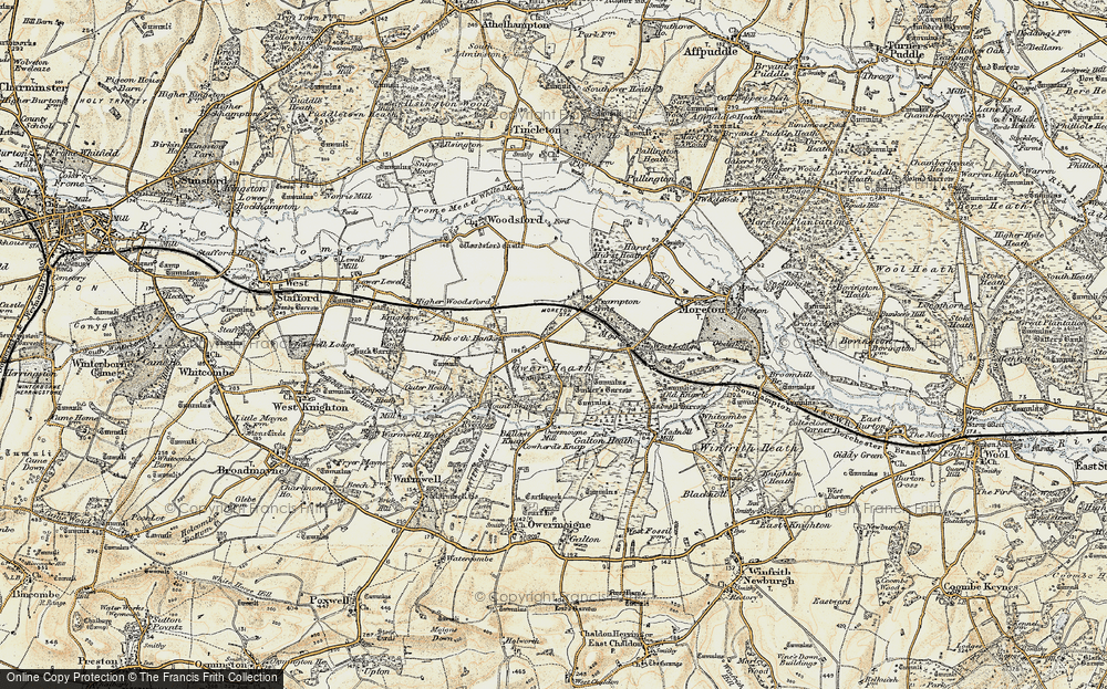 Old Map of Historic Map covering Tinker's Barrow in 1899-1909