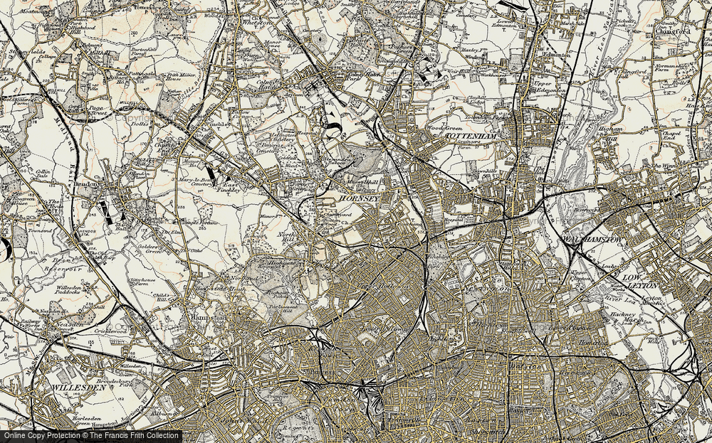 Old Map of Crouch End, 1897-1898 in 1897-1898