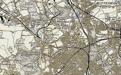 Old map of Crouch End in 1897-1898