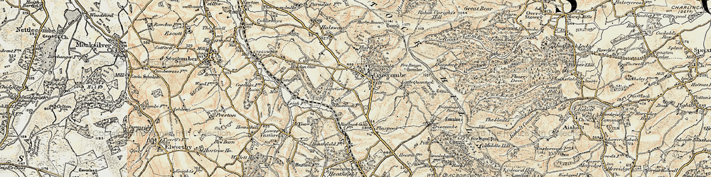 Old map of Crowcombe in 1898-1900