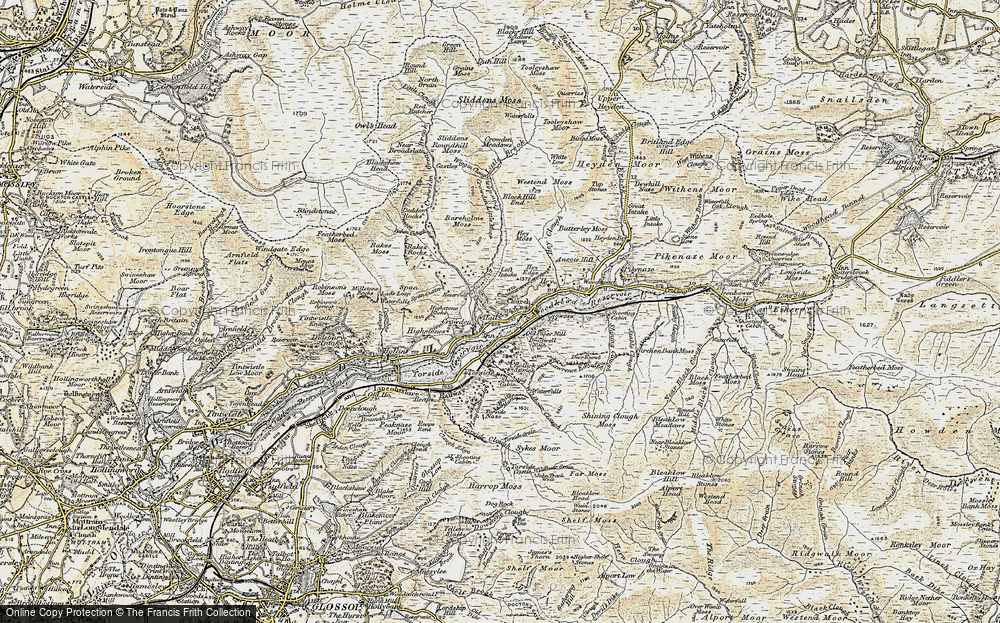 Old Map of Historic Map covering Woodhead Reservoir in 1903