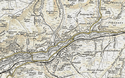 Old map of Bareholme Moss in 1903