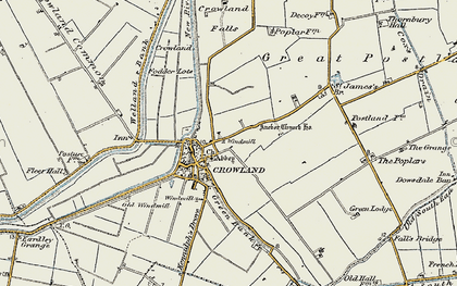 Old map of Crowland in 1901-1902